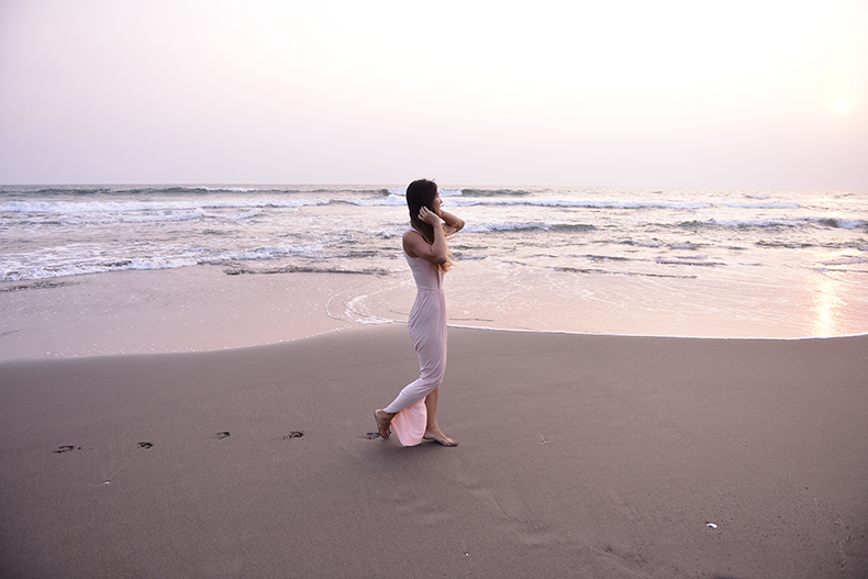 Euriental | fashion & luxury travel | light pink ASOS maxi dress on a beach in Bali