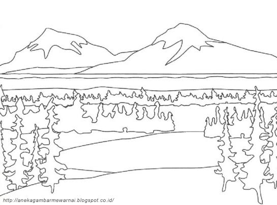 Sketsa Gambar Pemandangan Gunung