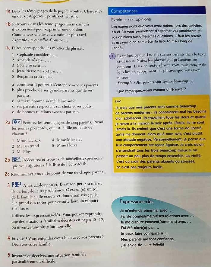 Bac Les Créatives Textes Unité 1 L A Famille