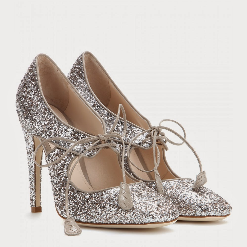 Bottega Veneta Glitter Pumps - silver glittery lace up cut out heels
