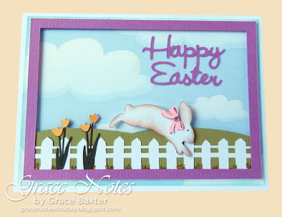 bunny hop Easter card, by Grace Baxter