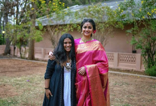 Keerthy Suresh in Saree with Cute Smile with Costume Designer for Mahanati
