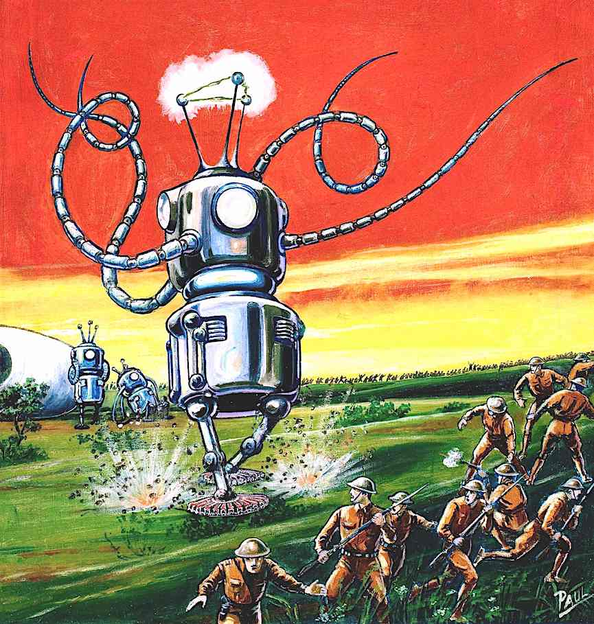 a Frank R. Paul color illustration of giant robots attacking soldiers