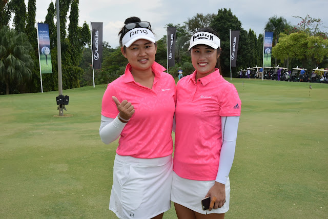 Ladies Professional Golf Association (LPGA) golfers Michelle Koh and Michele Low