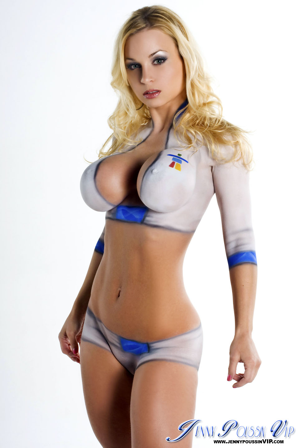 Jenny Poussin Modeling All Her Attributes In Nothing But Body Paint