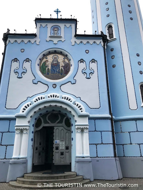 Entrance to the blue church St. Elizabeth in Bratislava in Slovakia