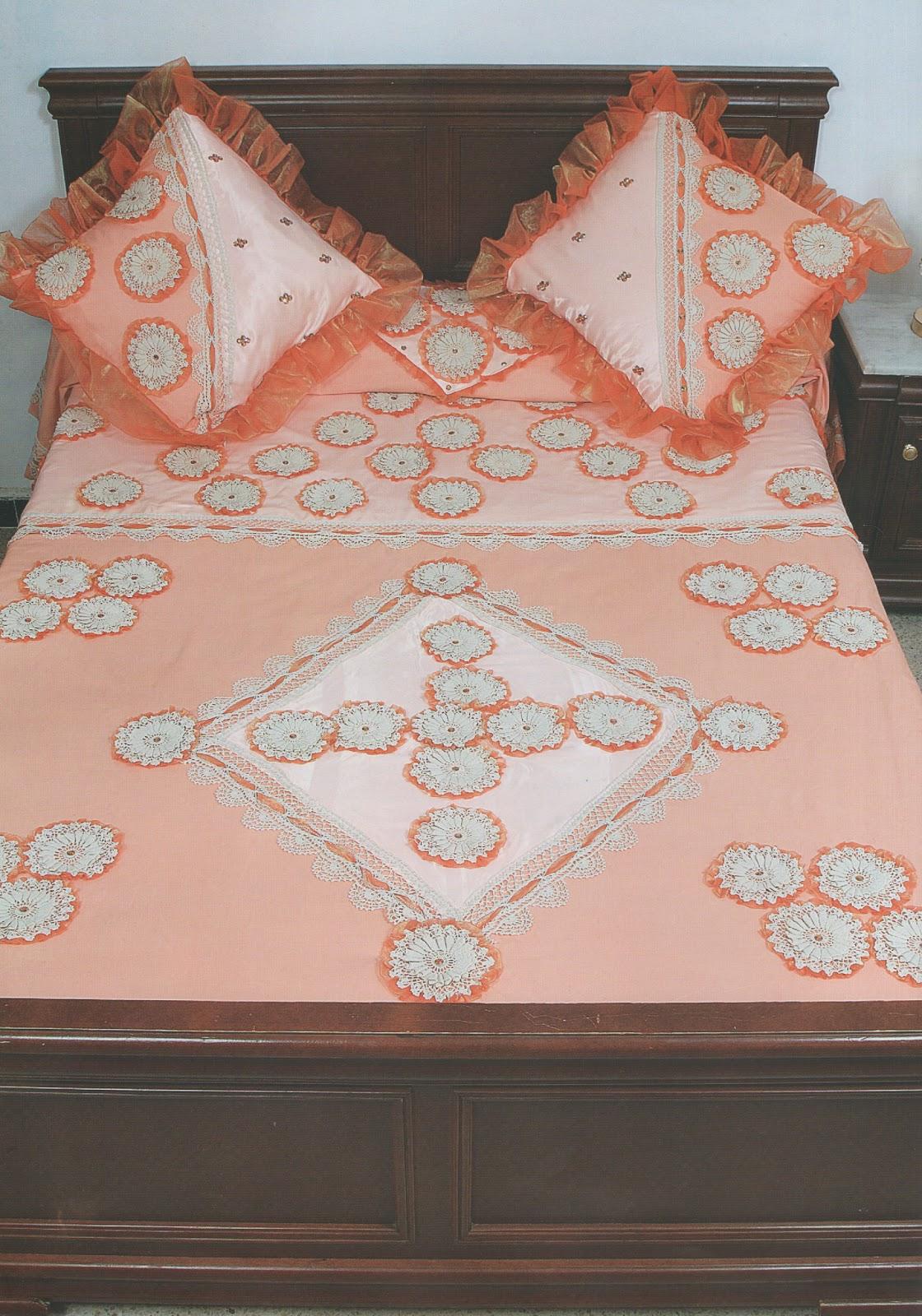 crochet et broderie drap orange. Black Bedroom Furniture Sets. Home Design Ideas