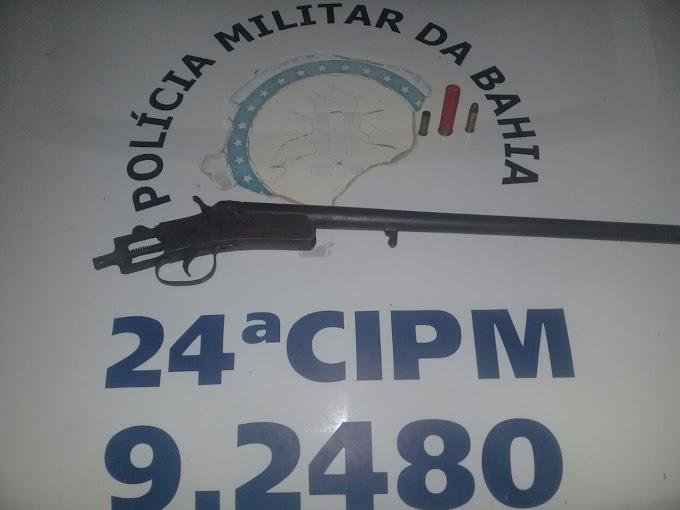 Policiais da 24ª CIPM flagram homem com espingarda em Caldeirão Grande