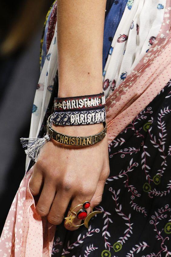 Lady in Floral Dress with Christian Dior Vintage Bracelets