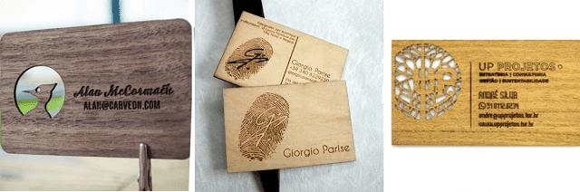 cartão de visitas de madeira