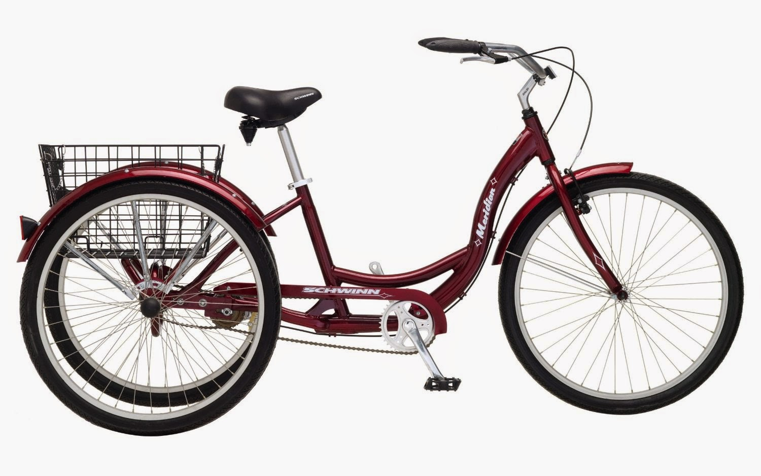 "Schwinn Meridian Single Speed Adult Tricycle, black cherry, review, ergonomically designed, cruiser handlebars, padded spring saddle, low step through frame design, folding rear basket, 26"" or 24"" wheels"