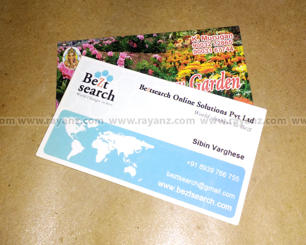 Rayanz printing press the design and printing company in chennai glossy laminated business cards printing in chennai reheart Images