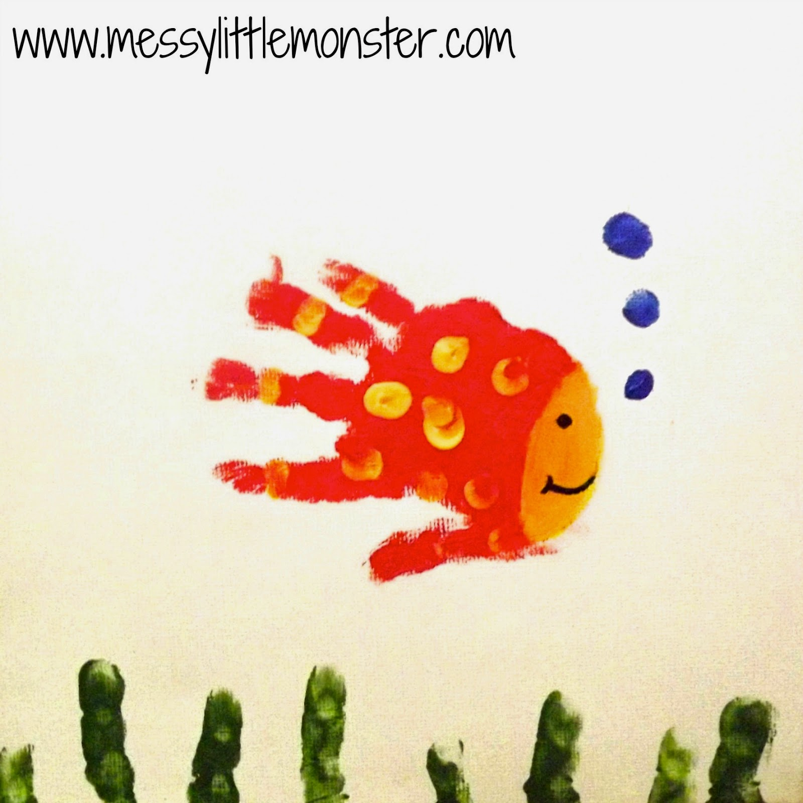 Fish craft - Animal handprints on canvas.  Simple gift ideas for toddlers and preschoolers to make.