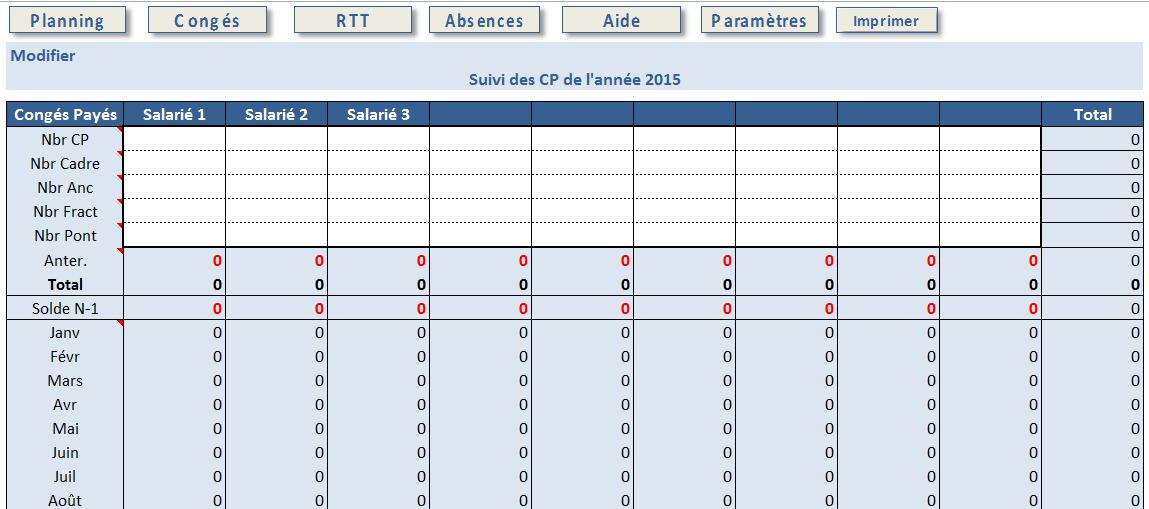 Excel - Planning Absences - Suivi des congés