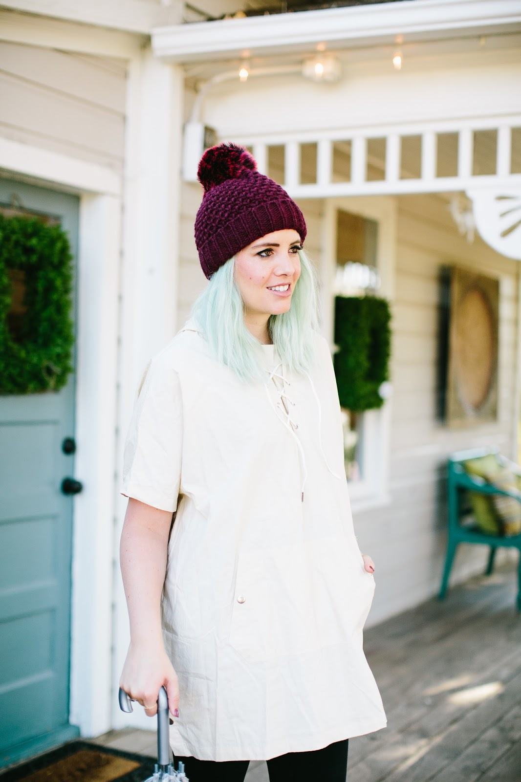 Beanie, Blue Hair, Modest Outfit