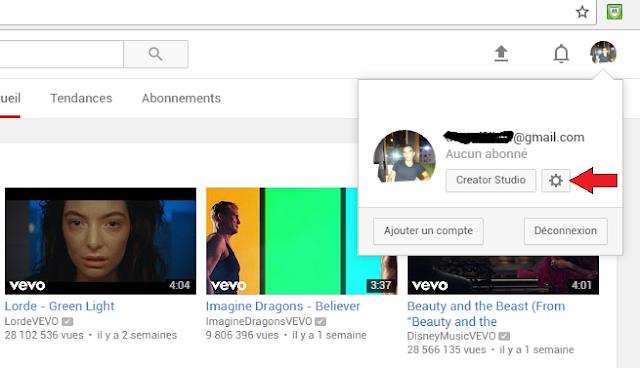 Les paramètres de votre compte YouTube