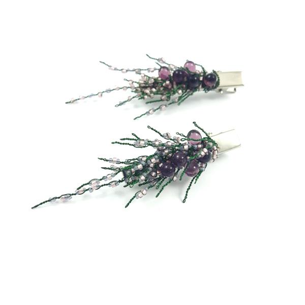 Wrzosowe, ślubne spinki do włosów.