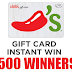 Instantly Win a $25 Chili's Gift Card! - 500 Winners. Daily Entry, Ends 5/24/19. GOOD LUCK!!