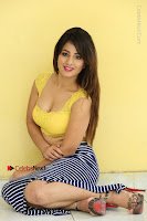 Cute Telugu Actress Shunaya Solanki High Definition Spicy Pos in Yellow Top and Skirt  0214.JPG