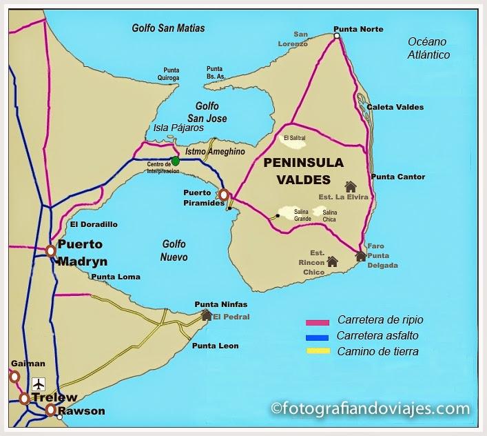 Mapa de la Península Valdés