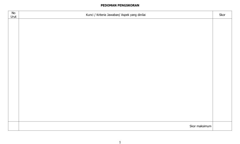Contoh Bentuk Pedoman Penilaian Skor - Lembar 2 dalam Administrasi Guru Sekolah Format Ms. Word (doc/docx)