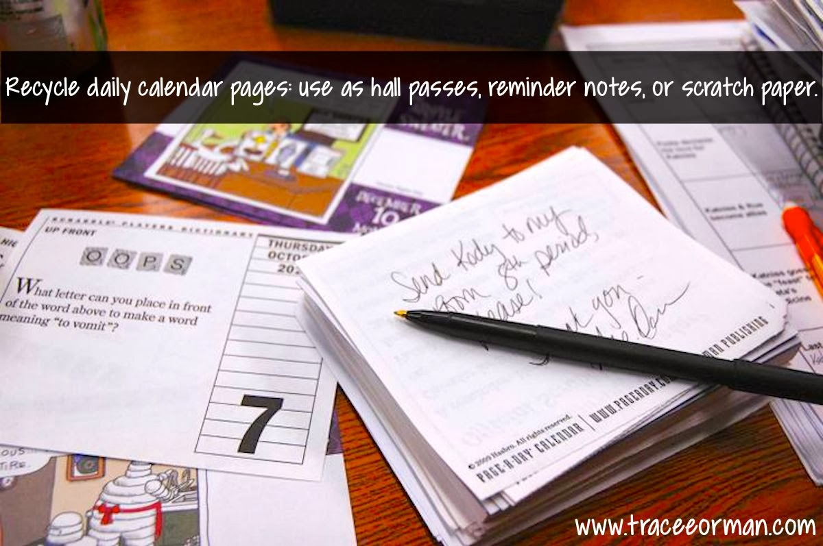 Recycle your calendar pages and more tips. #classroomorganization