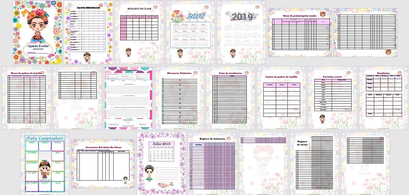 Agenda escolar 2018/2019 para imprimir
