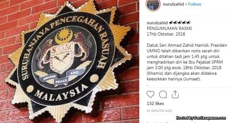 Zahid Hamidi Masuk Lokap SPRM