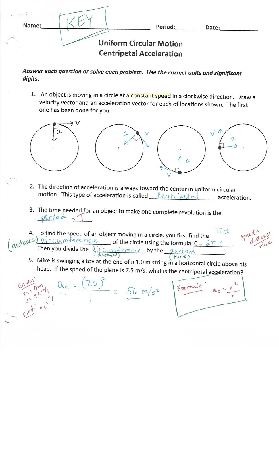 Worksheets Acceleration Worksheet With Answers physics with coach t centripetal acceleration universal gravitation and laws worksheet answers