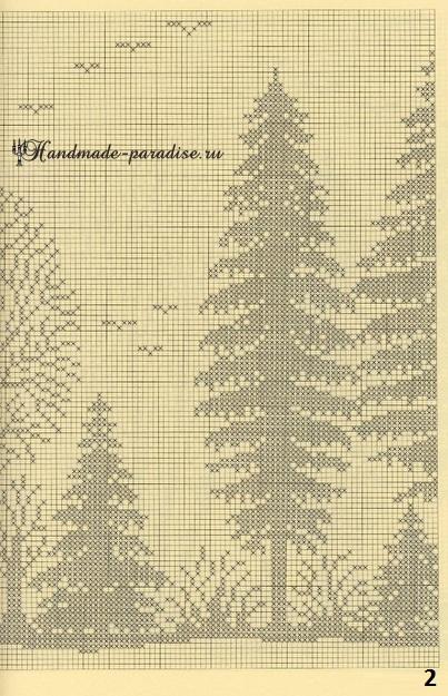 Лес. Филейные шторы крючком и вышивка (2)