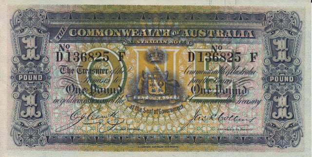 Australian One Pound banknote 1918
