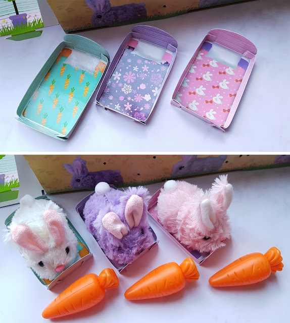 the 3 rabbit beds folded into 3D bed shapes, bottom picture shows the rabbits in their bed, with a carrot each in front of them