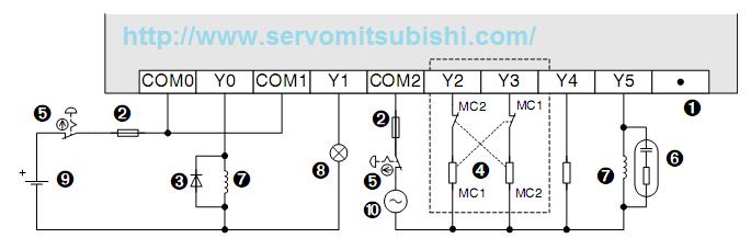 Sơ đồ đấu nối ngõ ra relay cho PLC Mitsubishi FX1S-14MR-001, Fx1s-14MR-ES/UL
