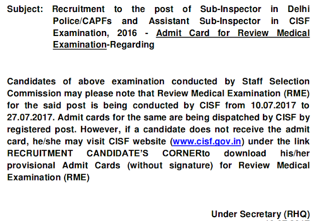 Notice-Recruitment to the post of Sub-Inspector in Delhi Police/CAPFs and Assistant Sub-Inspector in CISF Examination, 2016