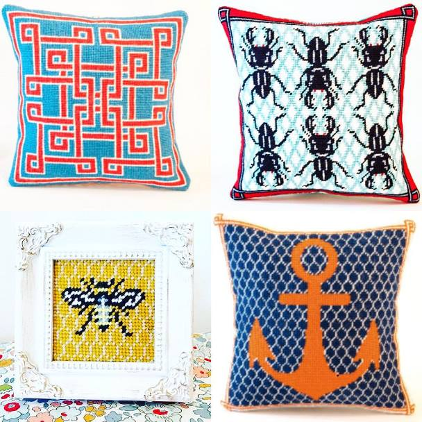 Three geometric and insect needlepoint cushions and a mini bee framed pictures by Jenny Henry Designs