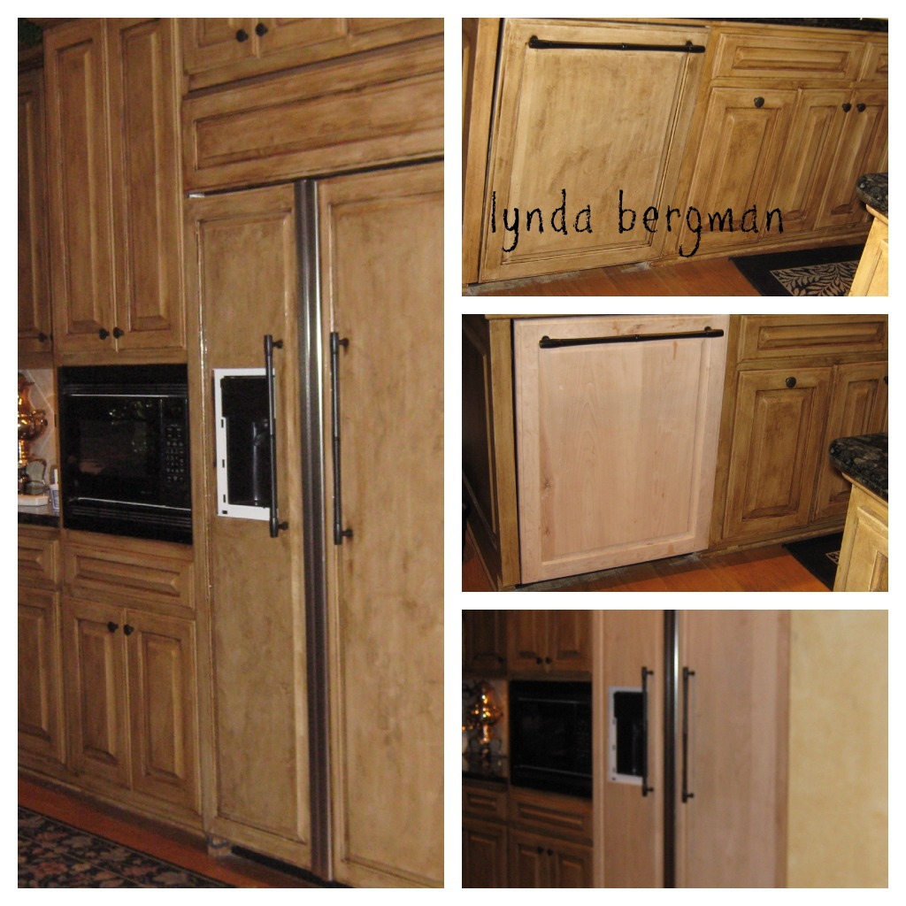 Lynda bergman decorative artisan painting new wood to Newwood cupboards