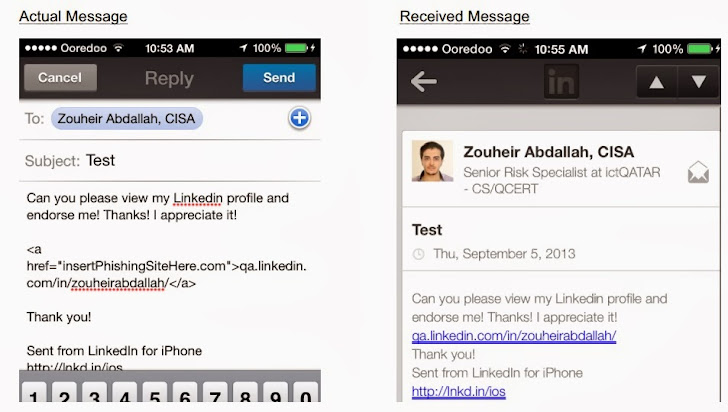 LinkedIn iOS app HTML Message Parsing Vulnerability