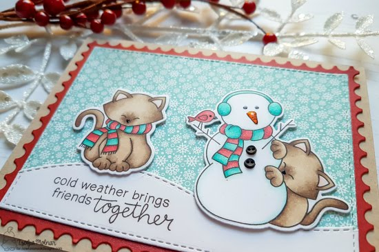 Cold Weather Friendship Card by Zsofia Molnar | Newton's Curious Christmas and Newton's Holiday Mischief Stamp Sets by Newton's Nook Designs #newtonsnook #handmade