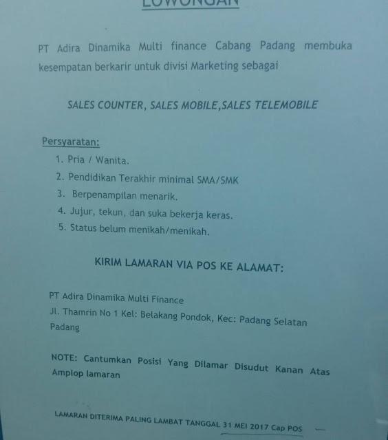 Lowongan Kerja Padang: PT. Adira Dinamika Multi Finance Mei 2017
