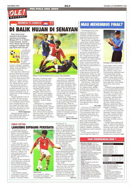 PRA-PIALA ASIA 2000: INDONESIA VS KAMBOJA 9-2 HUJAN DI SENAYAN
