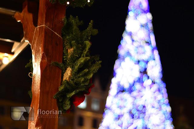 Jarmark Bożonarodzeniowy we Wrocławiu - podświetlona choinka na wrocławskim rynku
