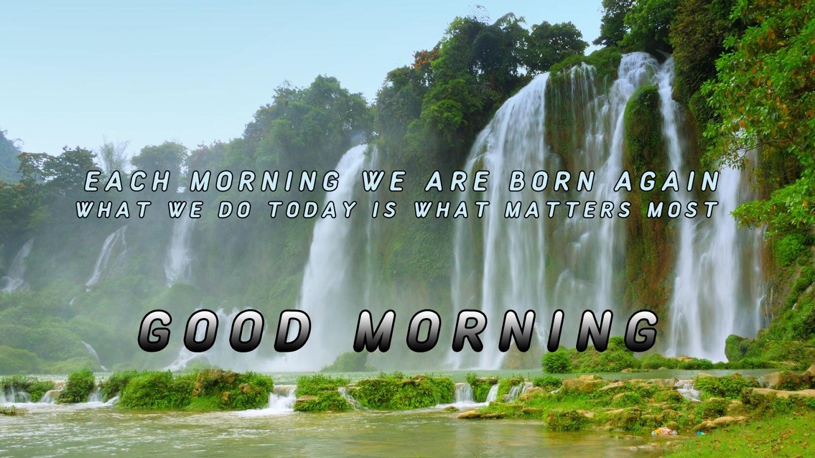 waterfall nature good morning image