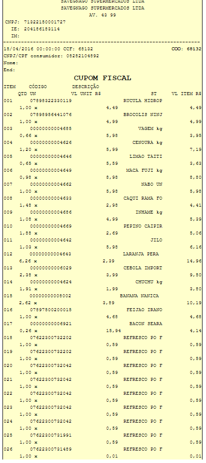 Cupom Fiscal número 68132 do Supermercado Savegnago de Barretos-SP  Loja 15 da av. 43 - Compra de 15/04/2016 - Ovo Mombuca com presença de fezes de galinha - Parte 1