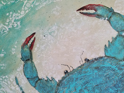 Florida blue crab on the beach painting