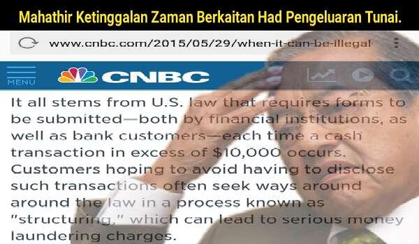 Mahathir Ketinggalan Zaman Berkaitan Had Pengeluaran Tunai