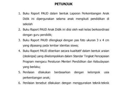 Free Download Format Raport PAUD TK KOBER RA Kurikulum 2013 PDF