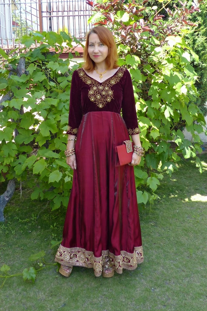 Party maxi anarkali dress decorated with glass beads embroidery