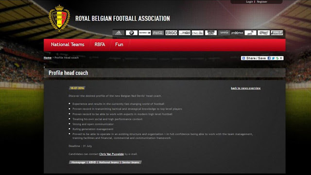 ...Y Bélgica entrenador a través de su web oficial