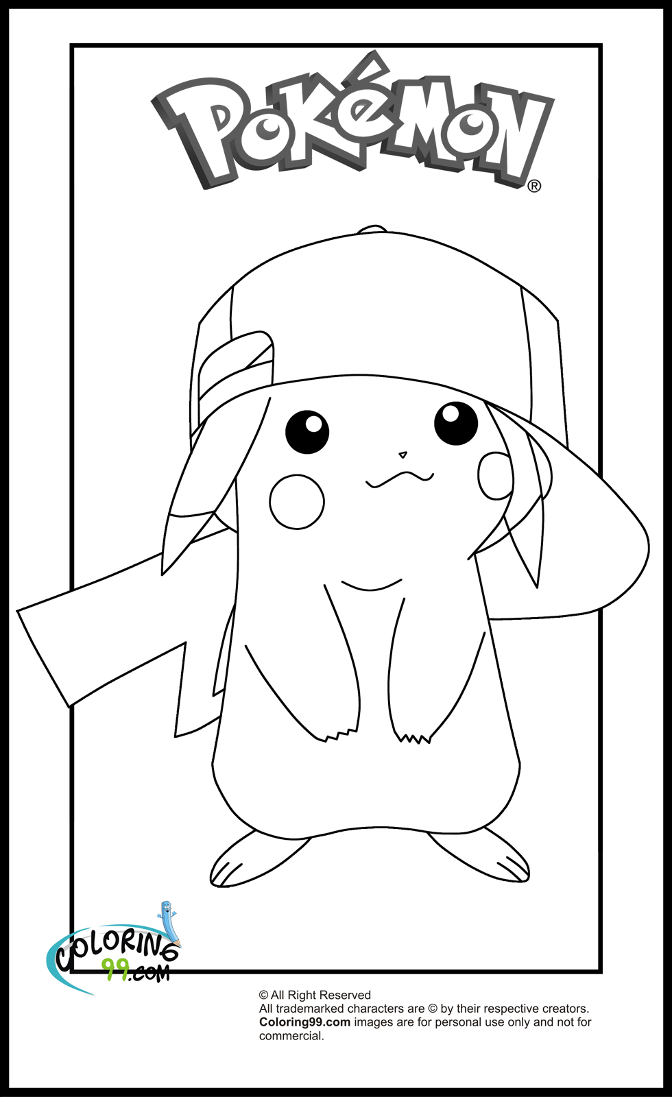 Pikachu coloring pages minister coloring for Pikachu color page