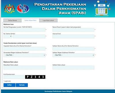 Cara Pendaftaran SPA8i Jawatan Kosong Kerajaan Online